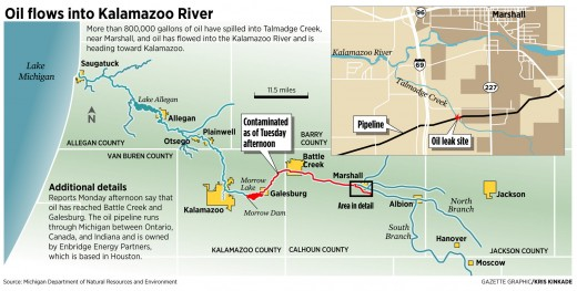 Enbridge oil leak in Kalamazoo River, July 2010