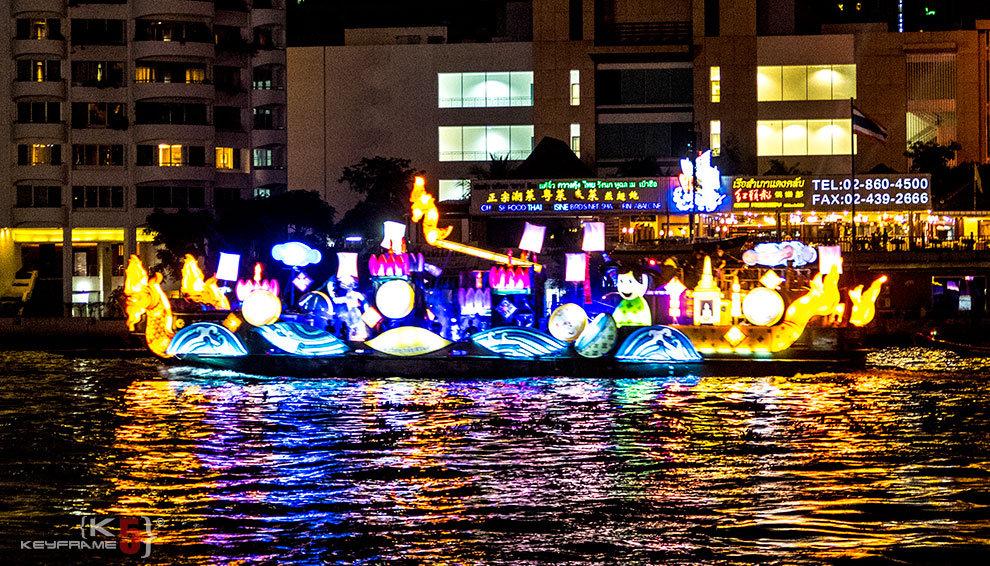 Loi Krathong Festival at Chao Phraya River in Bangkok