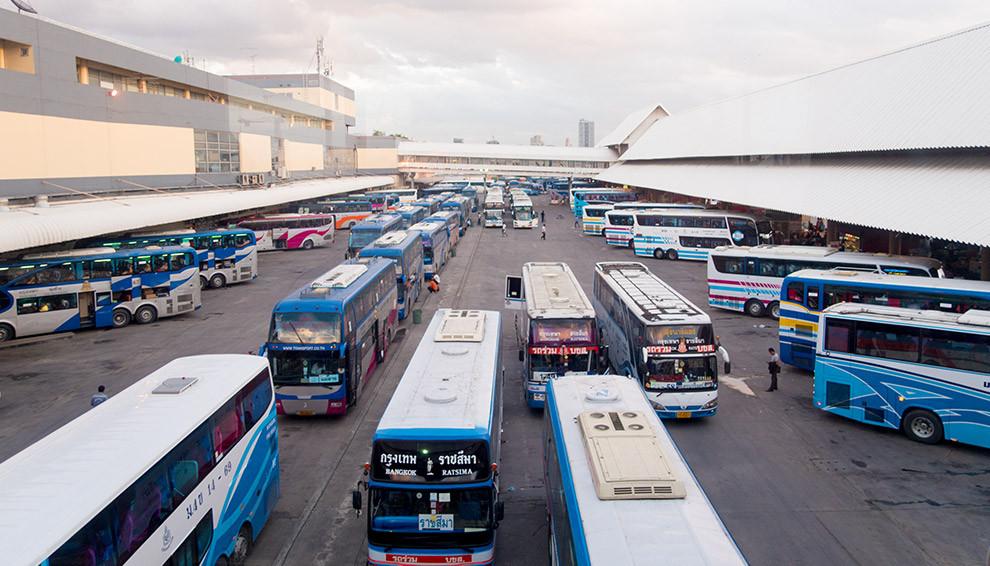 Buses in Mochit Bus Terminal in Bangkok