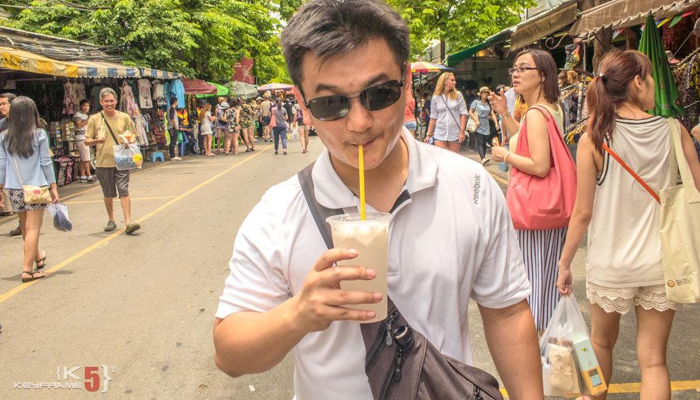 Enjoying coconut juice