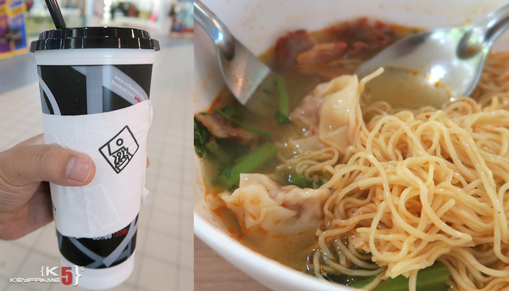 ฿60 THB - Chinese wongton noodles and ice coffee in Thailand
