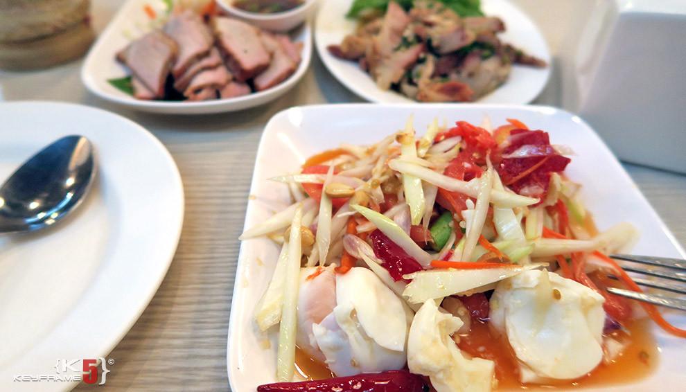 ฿300 THB - Hot papaya salad Laos style with larb