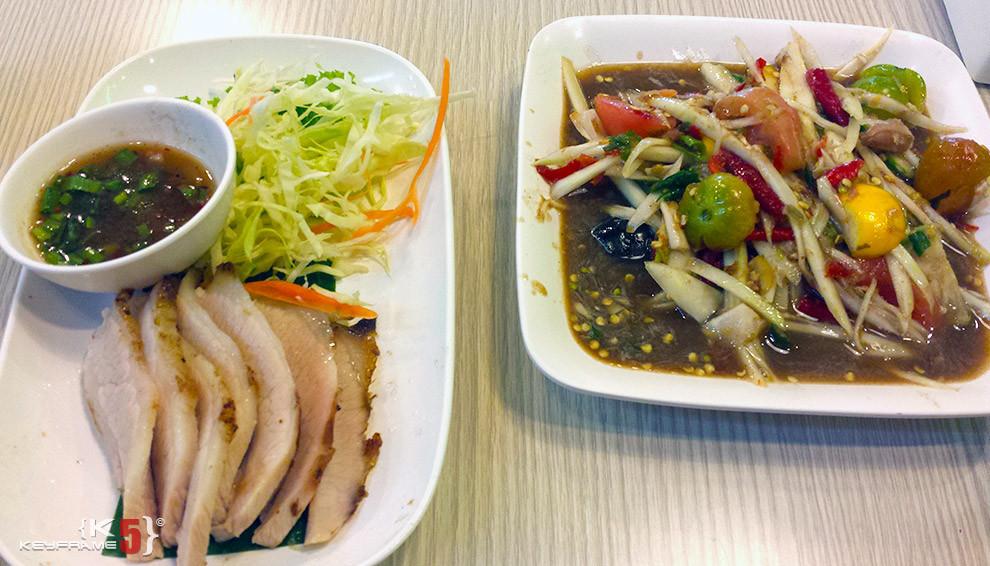 ฿240 THB - Pork and Laos hot papaya salad