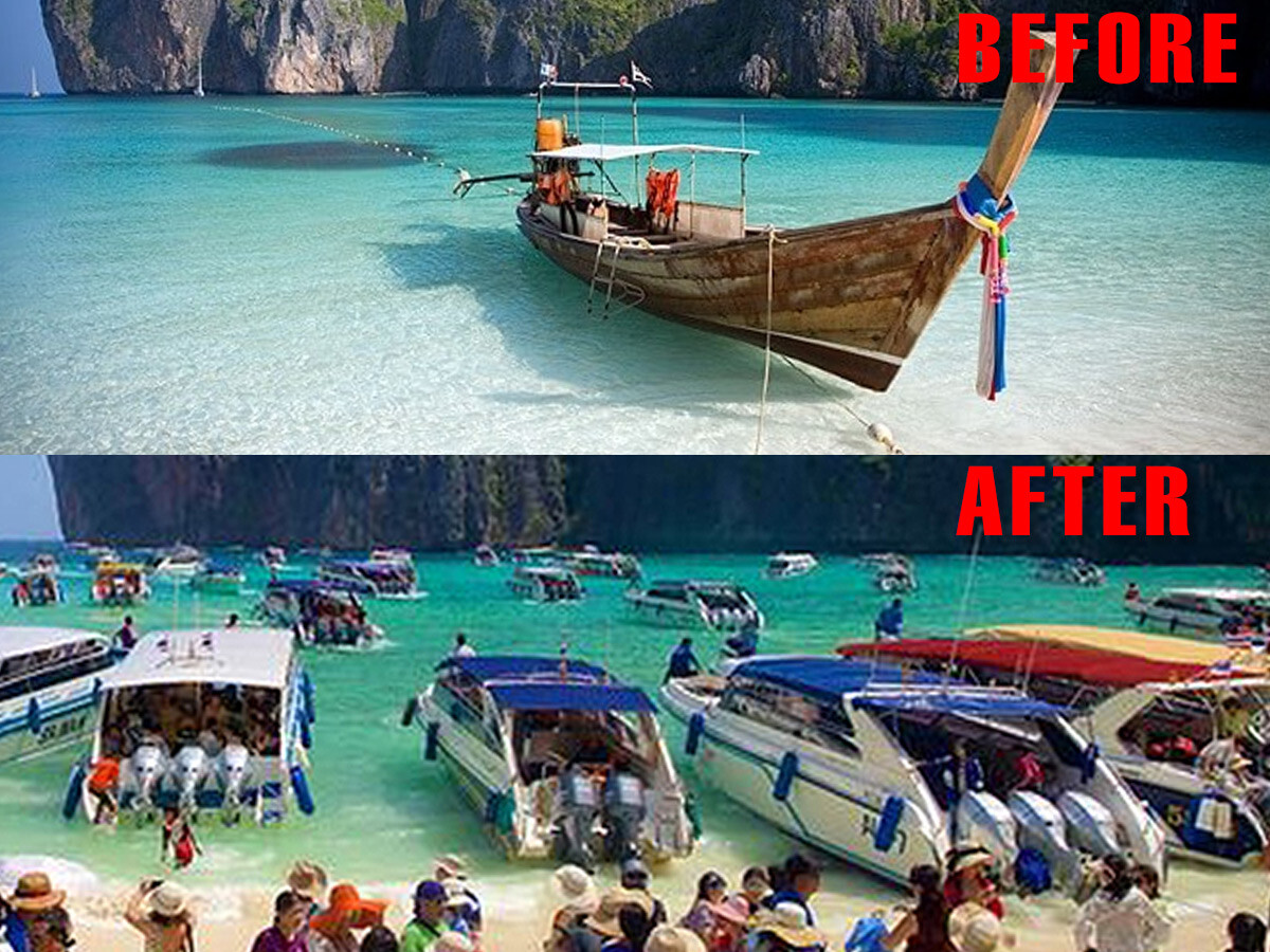 Thailand Tourist Trap #5 - Maya Bay before and after