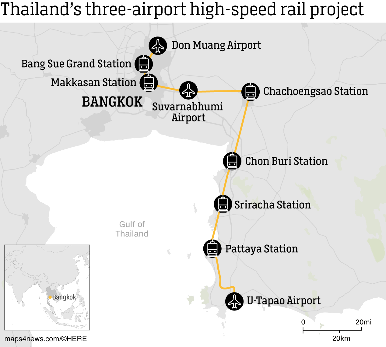 Bangkok to Pattaya Bullet Train Route in 2024