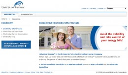 Universal Energy's website - no gas and electricity prices