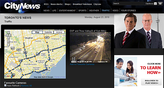 Toronto live traffic alert from City News/City TV