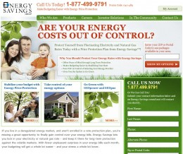 Energy Savings Group's website in 2008 to 2010 - no gas and electricity prices