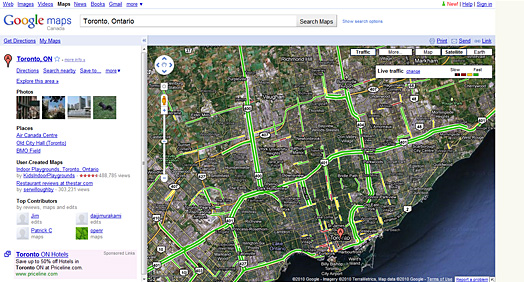 Toronto live traffic alert from Google Map